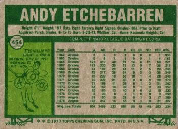 1977 Topps #454 Andy Etchebarren Back