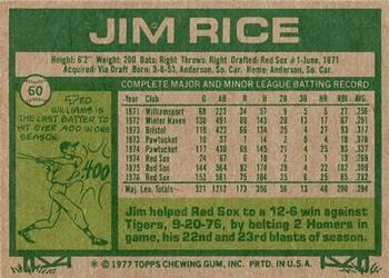 1977 Topps #60 Jim Rice Back