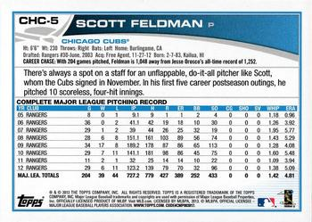 2013 Topps Chicago Cubs #CHC-5 Scott Feldman Back