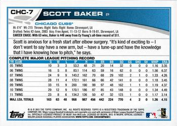2013 Topps Chicago Cubs #CHC-7 Scott Baker Back