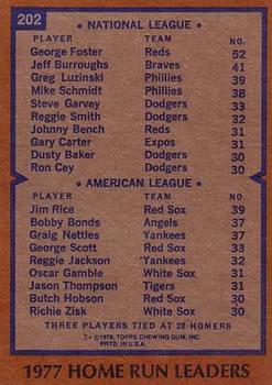 1978 Topps #202 1977 Home Run Leaders - George Foster / Jim Rice Back