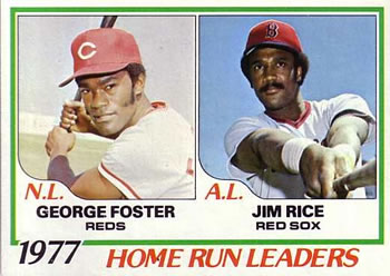 1978 Topps #202 1977 Home Run Leaders - George Foster / Jim Rice Front