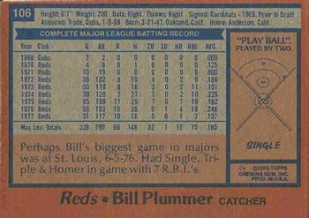 1978 Topps #106 Bill Plummer Back