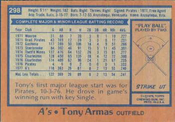 1978 Topps #298 Tony Armas Back