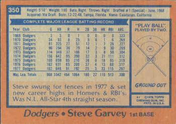 1978 Topps #350 Steve Garvey Back