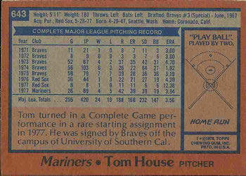 1978 Topps #643 Tom House Back