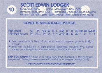 1989 Legoe Bellingham Mariners #10 Scott Lodgek Back