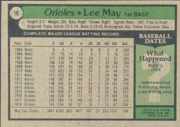 1979 Topps #10 Lee May Back