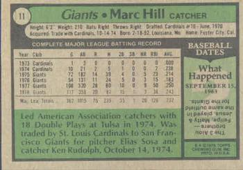 1979 Topps #11 Marc Hill Back