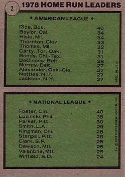 1979 Topps #2 1978 Home Run Leaders - Jim Rice / George Foster Back