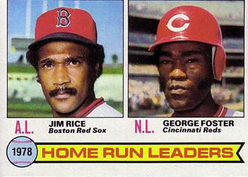 1979 Topps #2 1978 Home Run Leaders - Jim Rice / George Foster Front