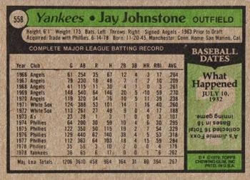 1979 Topps #558 Jay Johnstone Back
