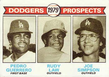 1979 Topps #719 Dodgers Prospects - Pedro Guerrero / Rudy Law / Joe Simpson Front