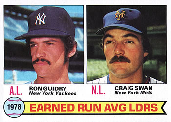 1979 Topps #7 1978 ERA Leaders - Ron Guidry / Craig Swan Front