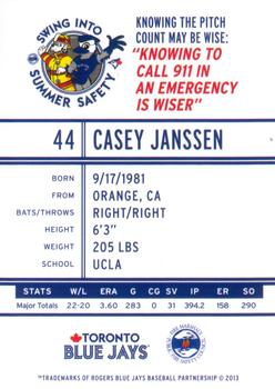2013 Swing Into Summer Safety - Toronto Blue Jays #44 Casey Janssen Back
