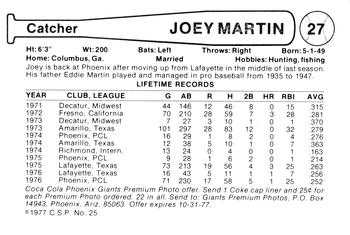 1977 Cramer/Coca-Cola Phoenix Giants #27 Joey Martin Back