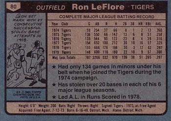 1980 Topps #80 Ron LeFlore Back