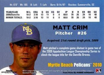 2010 Grandstand Myrtle Beach Pelicans 9 Matt Crim Back