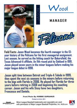 2011 Grandstand Myrtle Beach Pelicans #1 Jason Wood Back