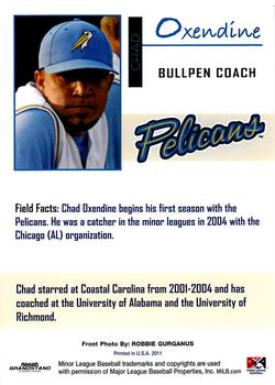 2011 Grandstand Myrtle Beach Pelicans #4 Chad Oxendine Back