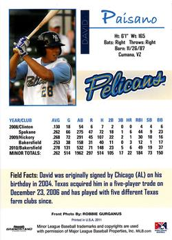 2011 Grandstand Myrtle Beach Pelicans #5 David Paisano Back