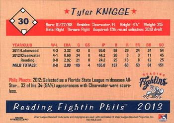 2013 Grandstand Reading Fightin Phils #NNO Tyler Knigge Back