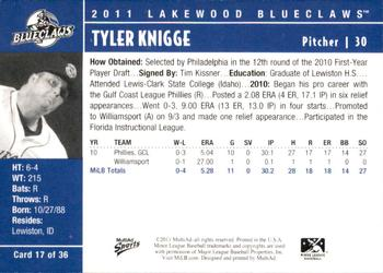 2011 MultiAd Lakewood BlueClaws #17 Tyler Knigge Back