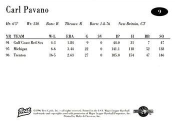 1996 Best AA All-Stars #9 Carl Pavano Back