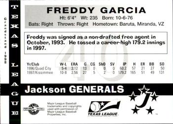 1998 Grandstand Texas League Top Prospects #11 Freddy Garcia Back
