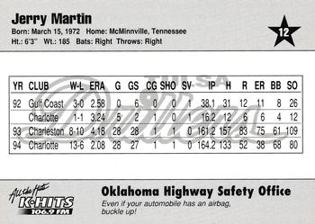 1995 Tulsa Drillers #12 Jerry Martin Back