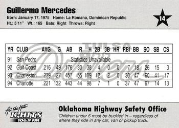 1995 Tulsa Drillers #14 Guillermo Mercedes Back