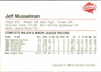 1989 Kahn's New York Mets #NNO Jeff Musselman Back