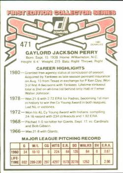 1981 Donruss #471 Gaylord Perry Back