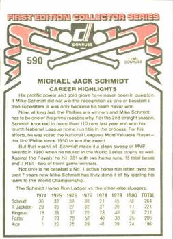 1981 Donruss #590 Mike Schmidt Back