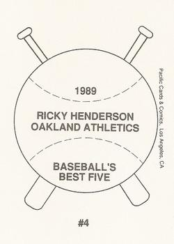 1989 Pacific Cards & Comics Baseball's Best Five (unlicensed) #4 Rickey Henderson Back
