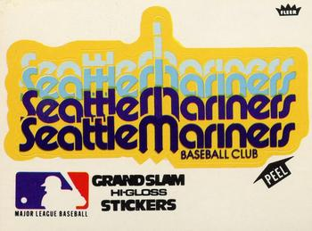 1977 Fleer Grand Slam Hi-Gloss Stickers #NNO Seattle Mariners Team White Front