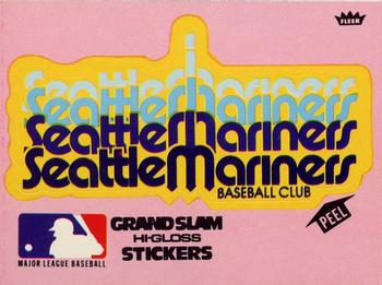 1977 Fleer Grand Slam Hi-Gloss Stickers #NNO Seattle Mariners Team Pink Front