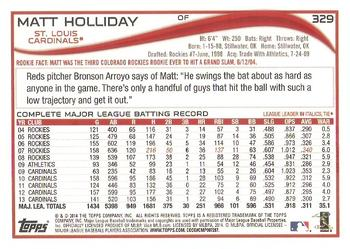 2014 Topps #329 Matt Holliday Back