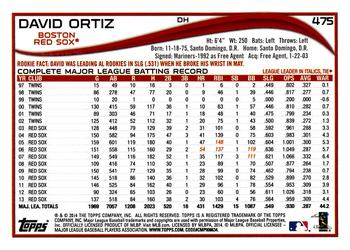 2014 Topps #475 David Ortiz Back