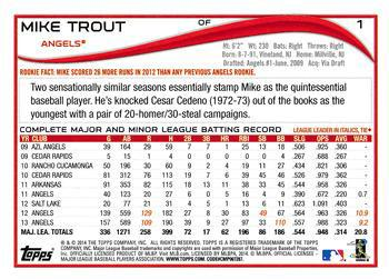 2014 Topps #1c Mike Trout Back