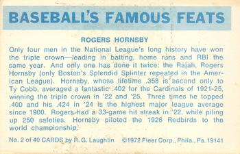 1972 Fleer Famous Feats Baseball Gallery The Trading