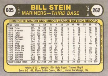 1981 Fleer #605 Bill Stein Back