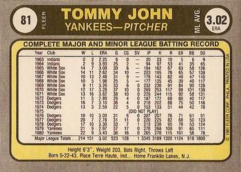 1981 Fleer #81 Tommy John Back