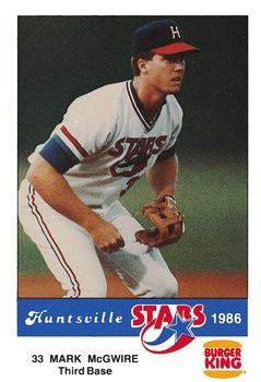 1986 Burger King Huntsville Stars #NNO Mark McGwire Front