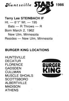 1986 Burger King Huntsville Stars #NNO Terry Steinbach Back