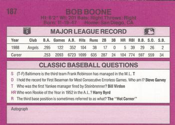 1989 Classic Travel #187 Bob Boone Back