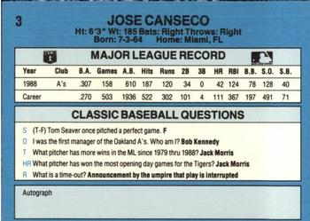 1989 Classic Travel #3 Jose Canseco  Back
