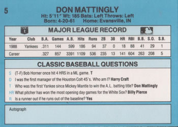 1989 Classic Travel #5 Don Mattingly Back