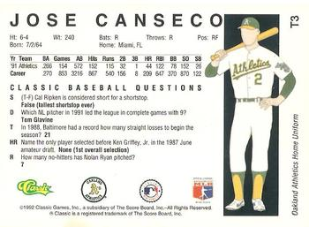 1992 Classic II #T3 Jose Canseco Back