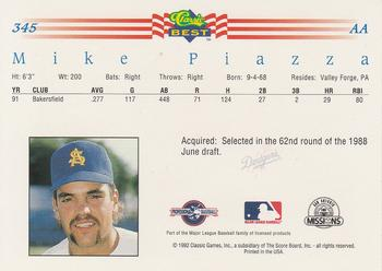 1992 Classic Best #345 Mike Piazza Back